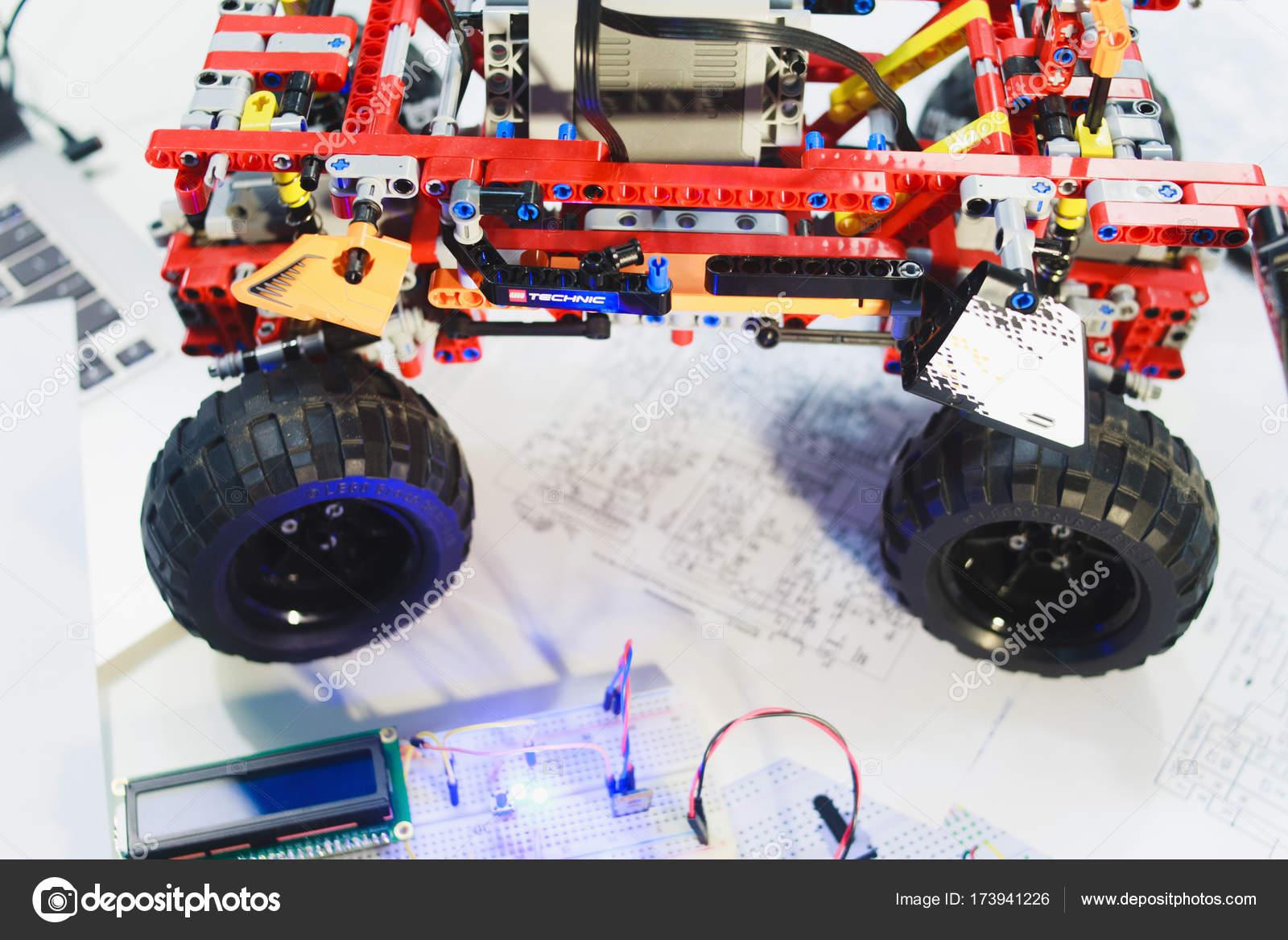 lego technic constructor mechatronics breadboard stock photo