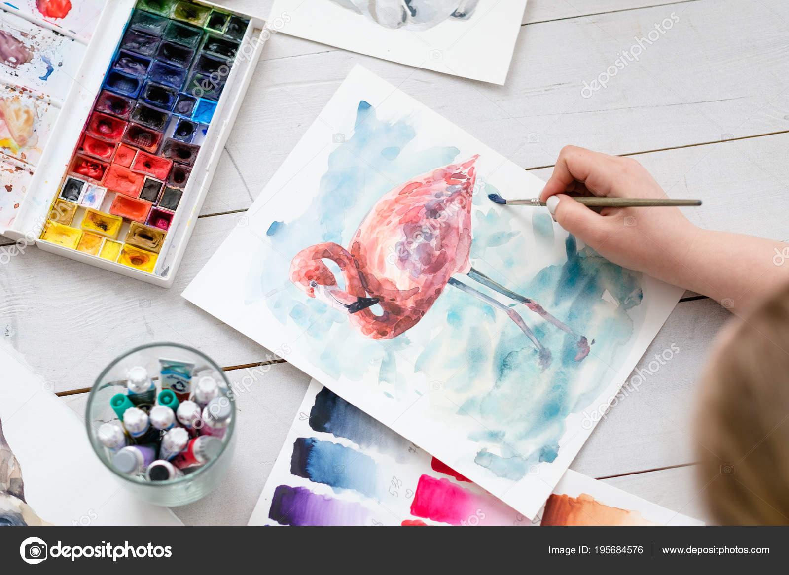 Arteterapie Malovani Trid Akvarelu Barvy Stetec Stock Fotografie