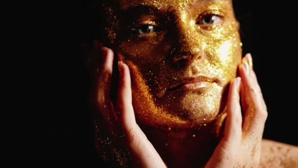 fashion glitter makeup woman golden shiny face