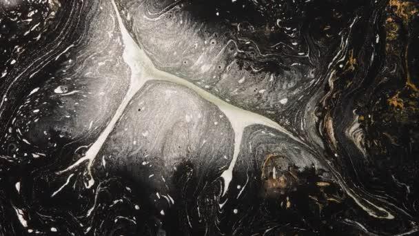 fluid art glitter white black bronze paint blend