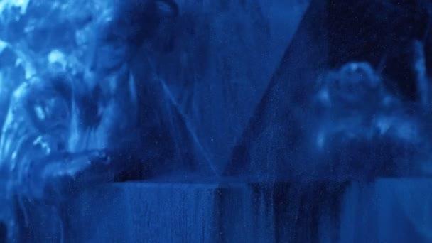 fluid splash galaxy blue glitter paint flow water