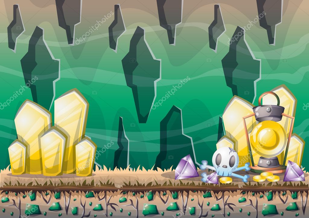 cartoon vector cave with separated layers for game and animation
