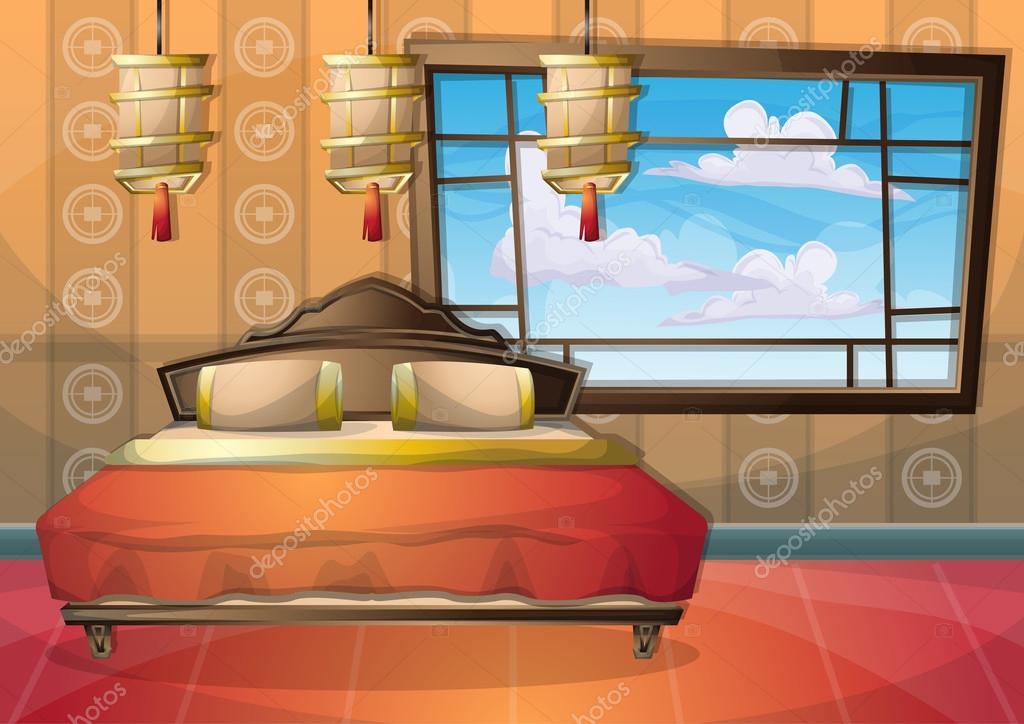 dessin animé vector illustration intérieure chambre chinoise avec ...