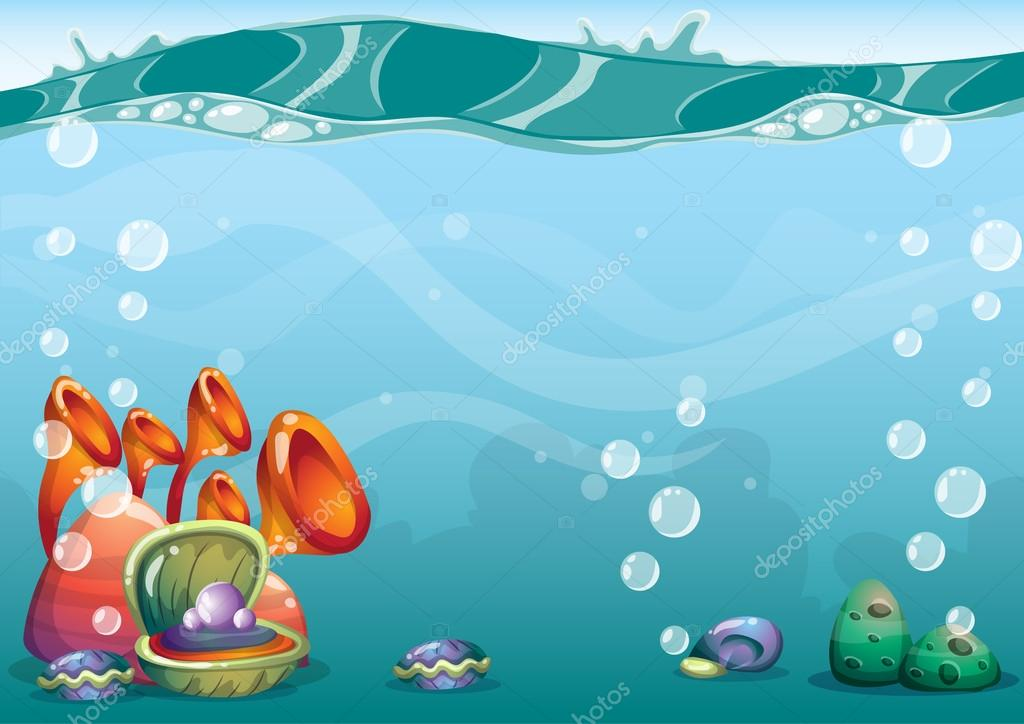 cartoon vector underwater background with separated layers