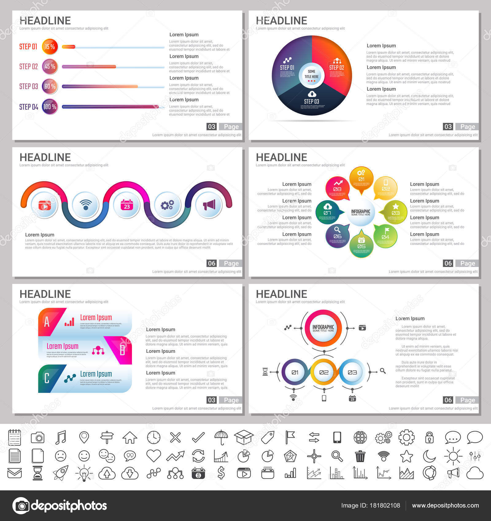 modern elements infographics presentations templates banner poster