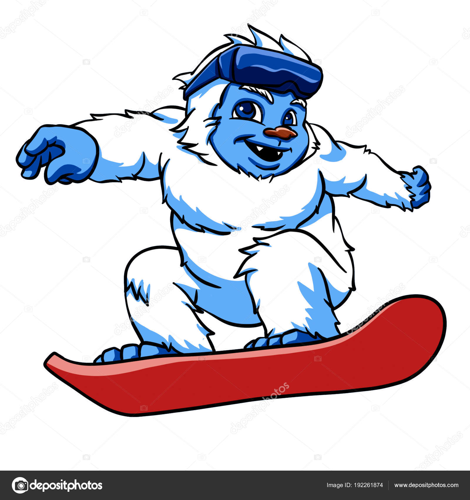 Pictures Snowboarding Cartoon Snowboarding Yeti Cartoon Illustration Stock Photo C Milesthone 192261874