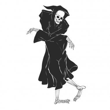 Dancing reaper - silhouette grim - skeleton cartoon - night angel