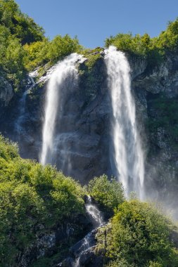 Russia. Sochi. Krasnaya Polyana. The falls Polikarya in June.