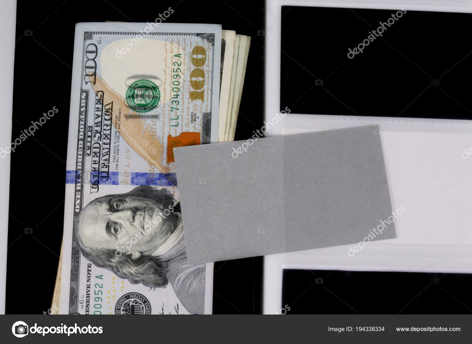Dollars with business cards. There is a place for inscriptions ...