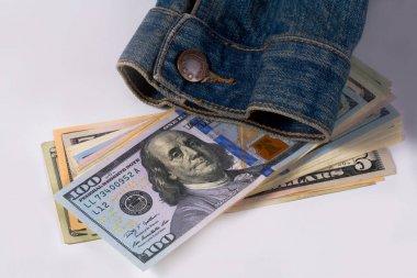 Dollars and denim jackets, symbols of America, business symbols. stock vector