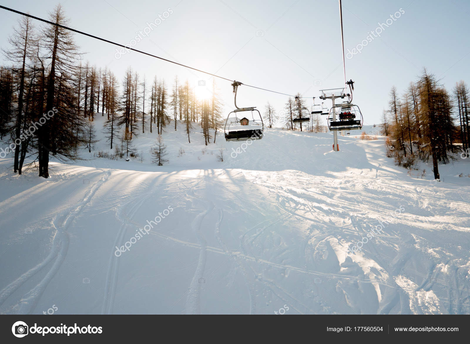 Riding The Chair Lift Through The Forest Of The High Alpine Sauze Du0027Oulx  Piedmont