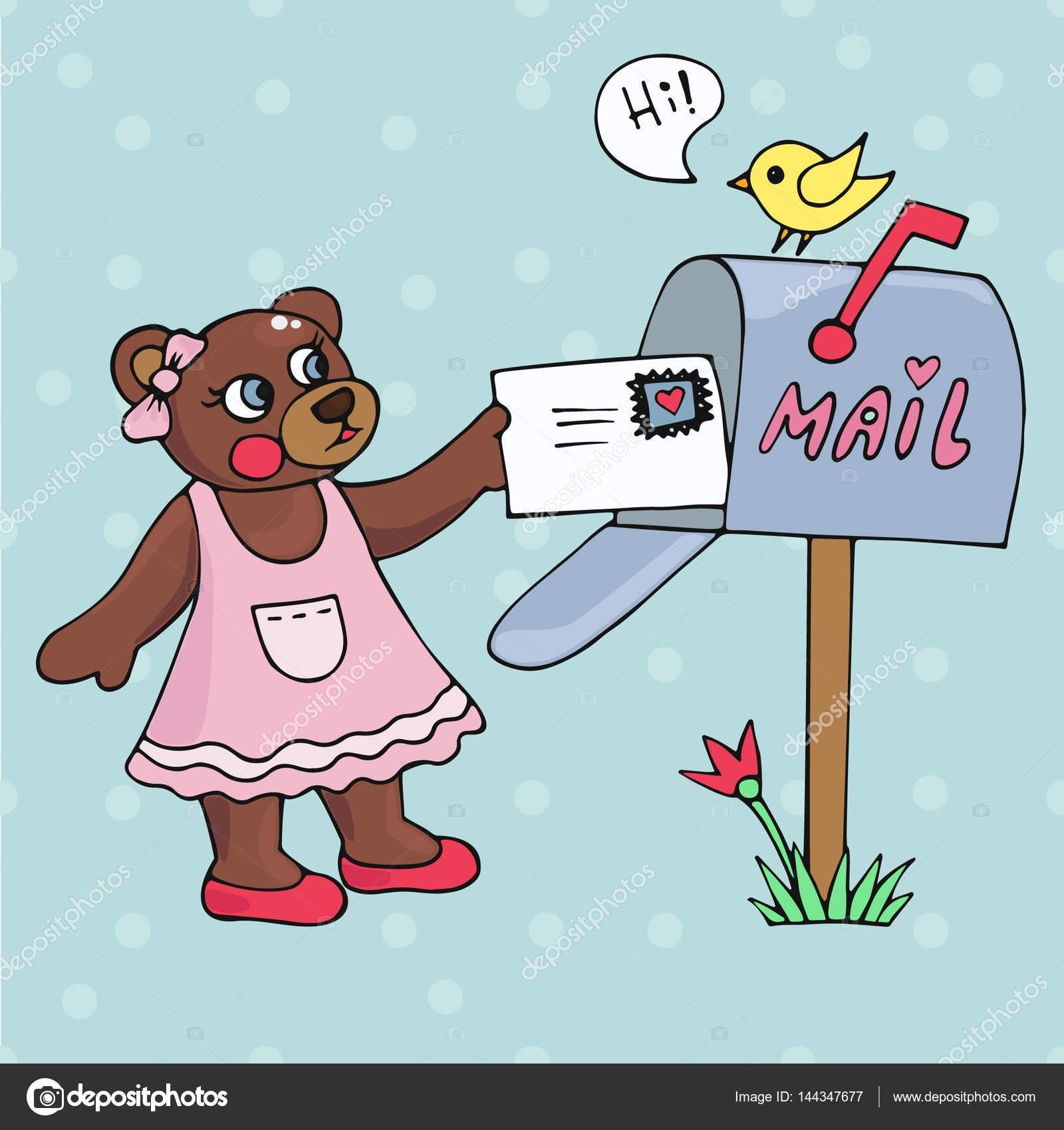かわいいテディベアのメールで手紙を受け取った。童話のイラスト