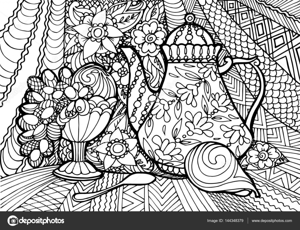 Bodegon Frutas Colorear Decorativo Bodegón Con Té Y Fruta Doodle