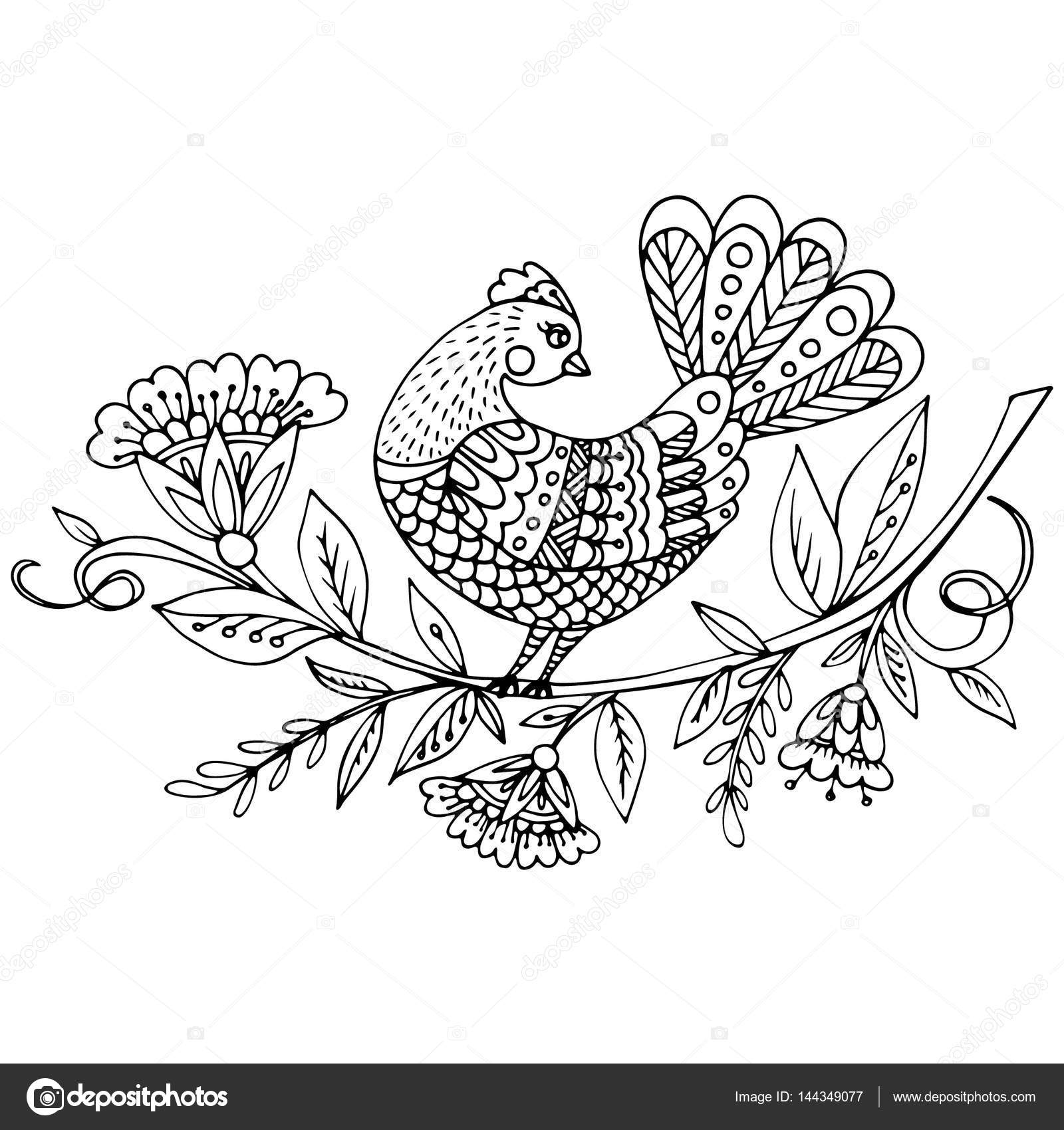 beautiful bird in magical garden for coloring book stock vector - Magical Garden Coloring Book