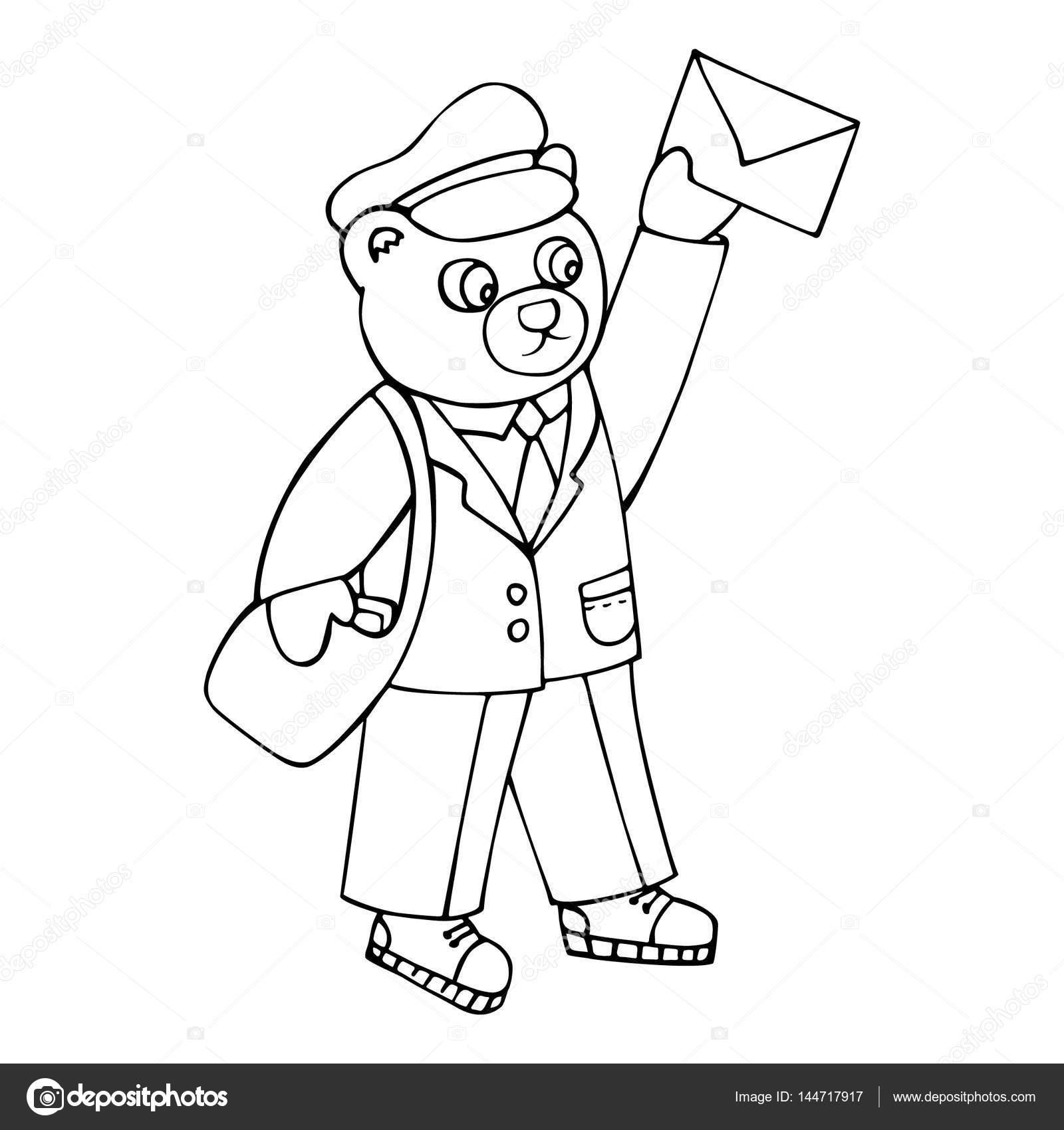 Bär, brachte der Postbote einen Brief. Malvorlagen für Kinder ...