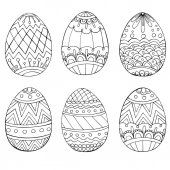 Fotografie Set of anti stress coloring book pages for adult. Easter eggs. Zentangle and doodle design elements. Black and white vector illustration.