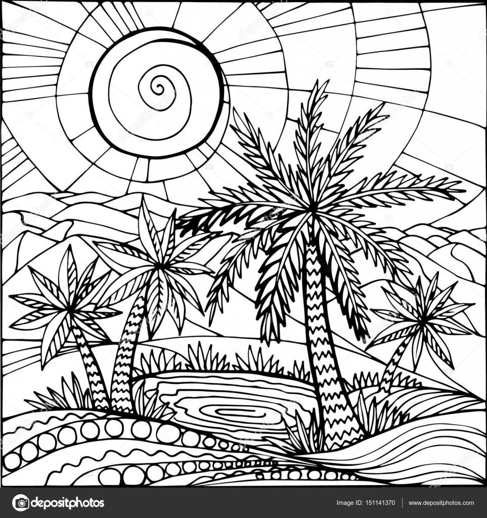 Oase in der Wüste Sand. Palmen und einem See. Abbildung kann ...