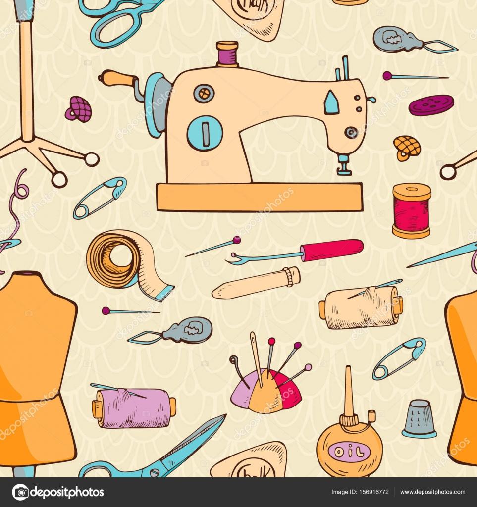 Accesorios de costura patrones sin fisuras. Ilustración se puede ...