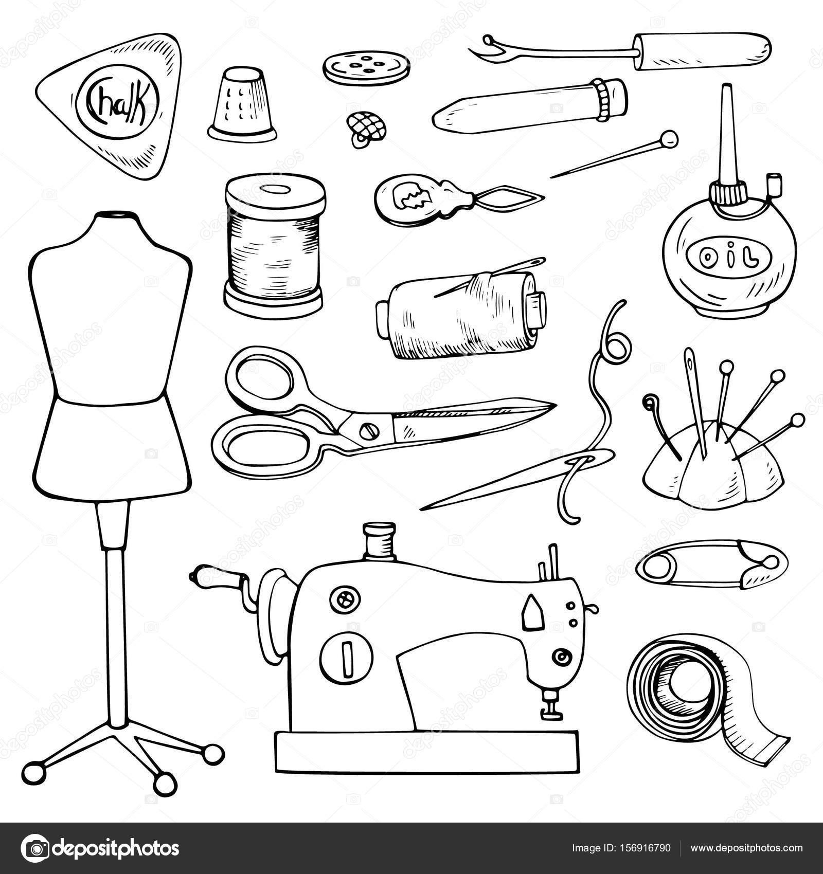 Accesorios de costura. Conjunto de vectores iconos de medida aislado ...