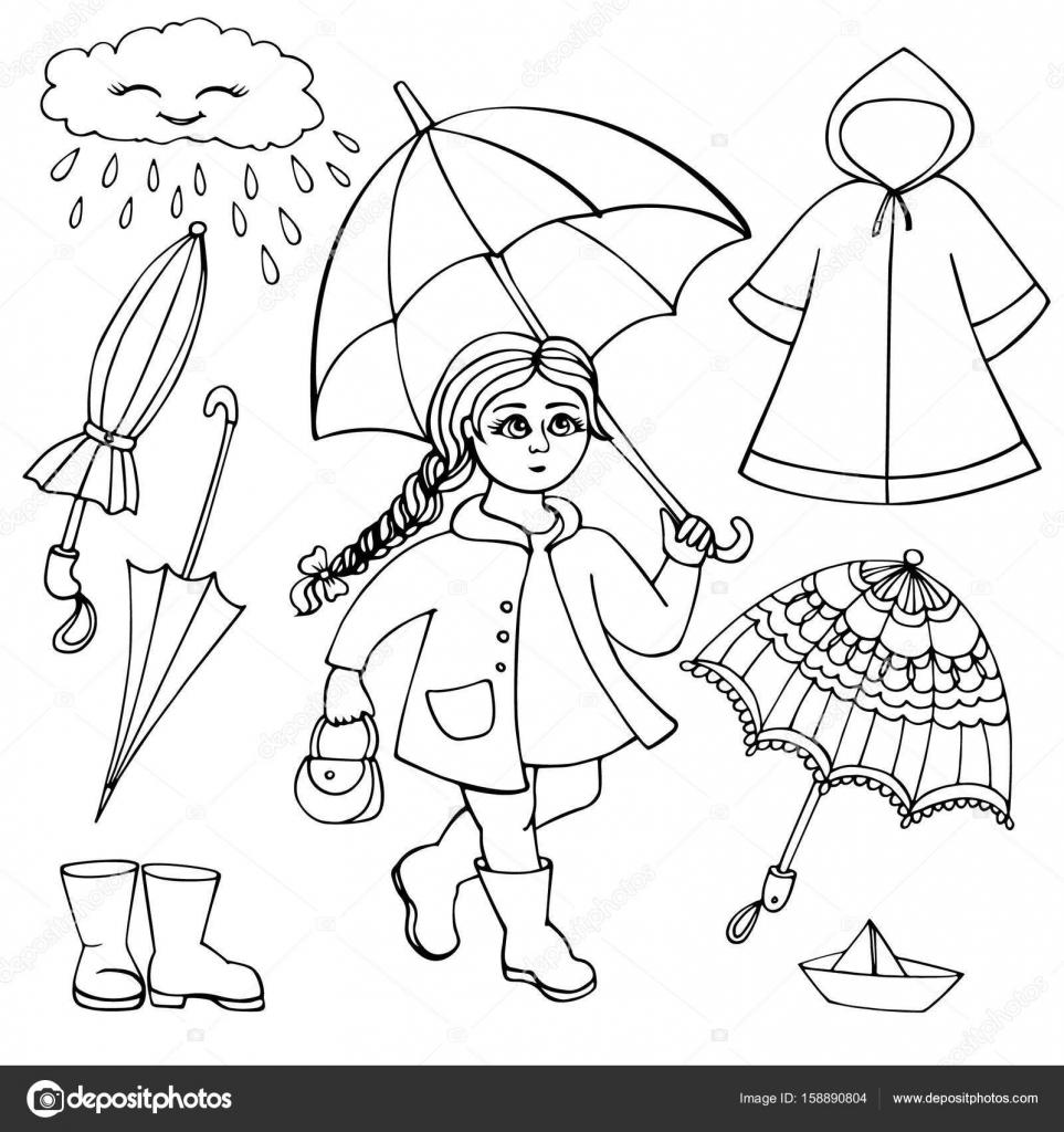 Conjunto de ropa y accesorios para tiempo lluvioso. Chica con ...