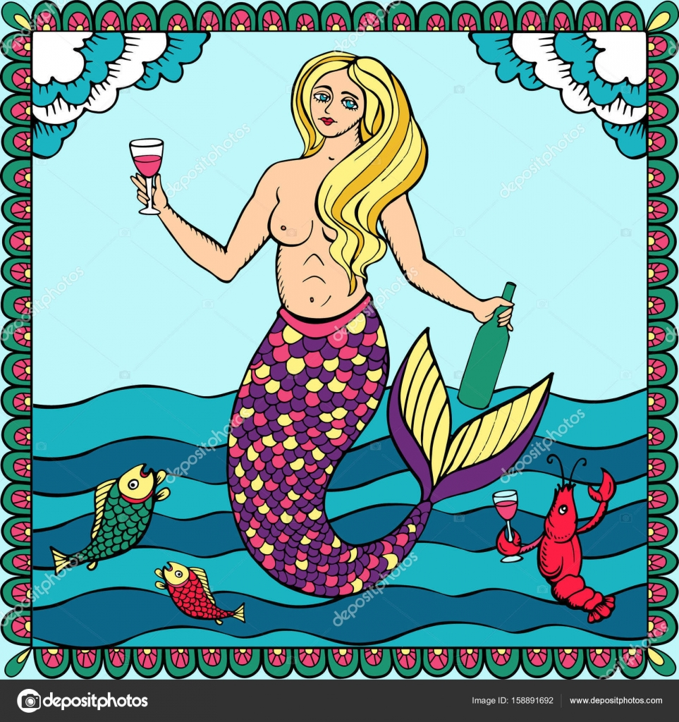 Una sirena con la botella de vino. Mano dibuja la ilustración en ...