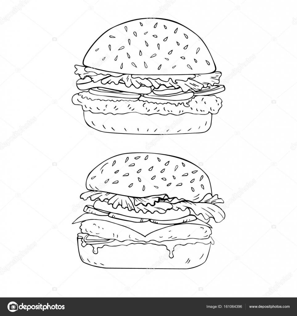 Hamburger Hand Getrokken In Vector Kleurplaat Stockvector
