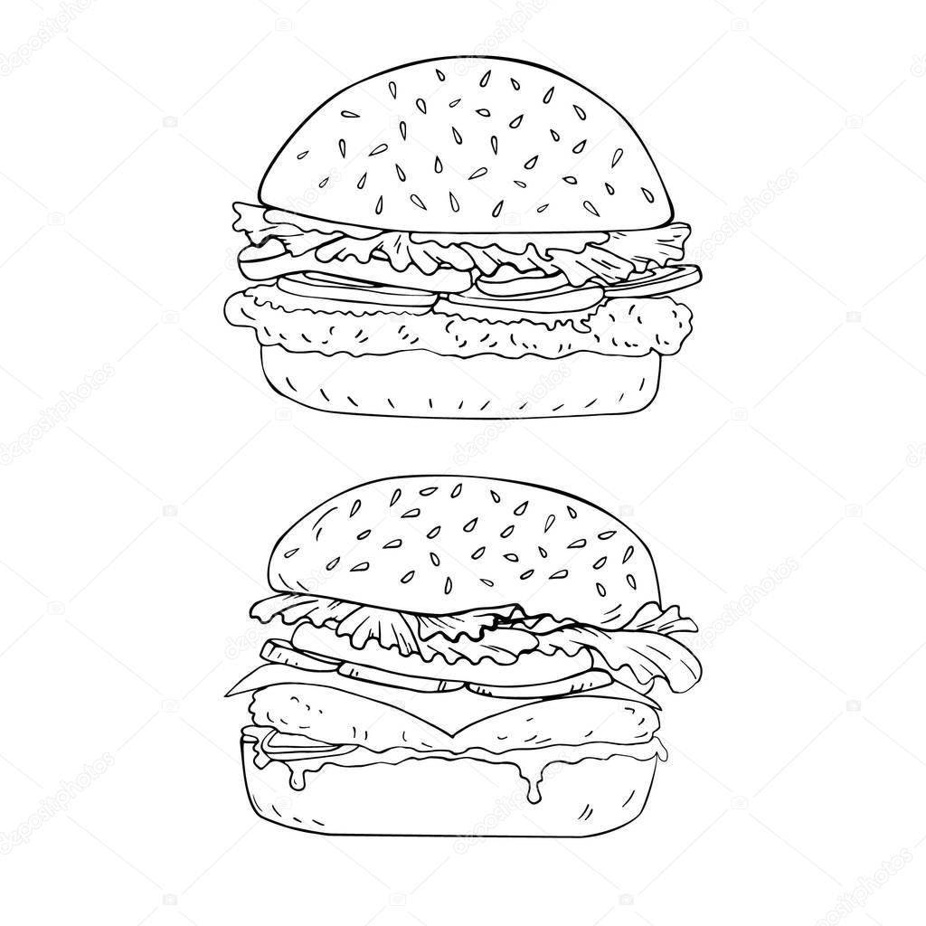 Burger Elle çizilmiş Vektör Içinde Boyama Sayfası Stok Vektör