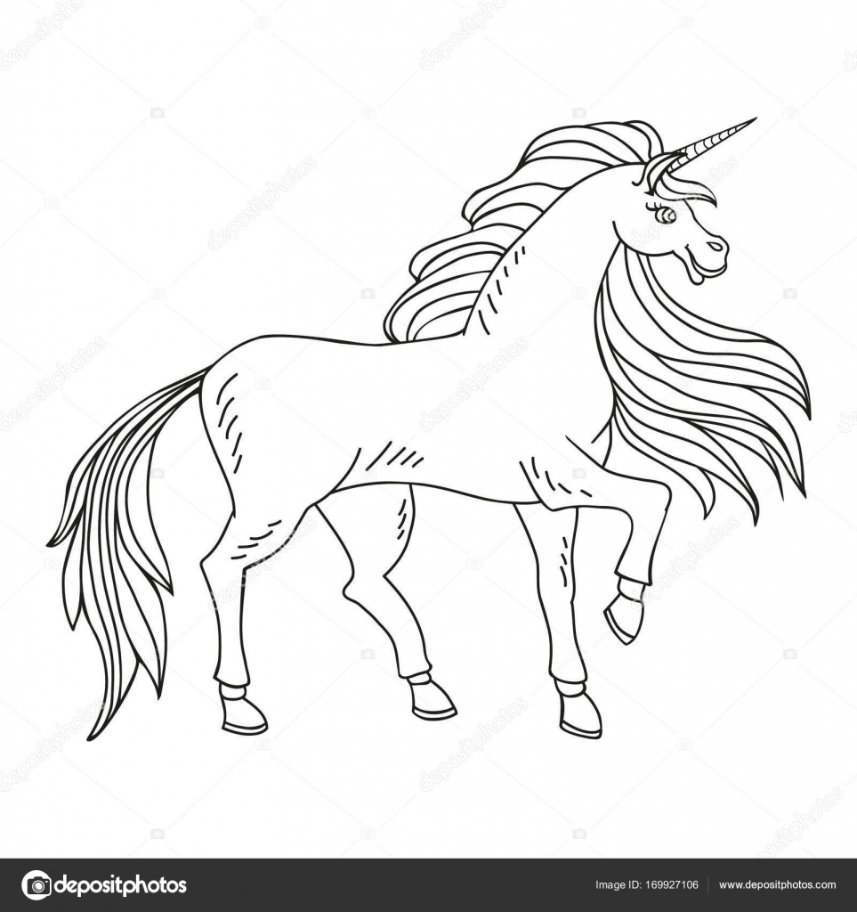 Coloring Page With A Unicorn Stock Vector C Lena Art 169927106