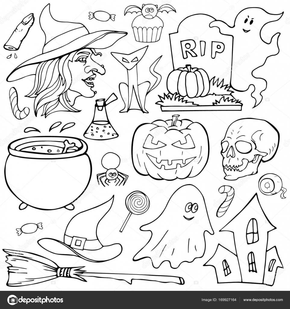 Kleurplaten Over Halloween.Een Aantal Elementen Van Halloween Foto S Getrokken Op Een