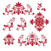 Egy sor rajzolt vektoros régi orosz stílusú, lapos design logók. A logó használható termékek hagyományosan orosz gyökerek, például, mézeskalács, sál, füvek, népi mesterségek.