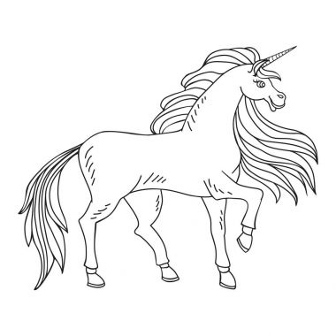 Coloring page with a unicorn.