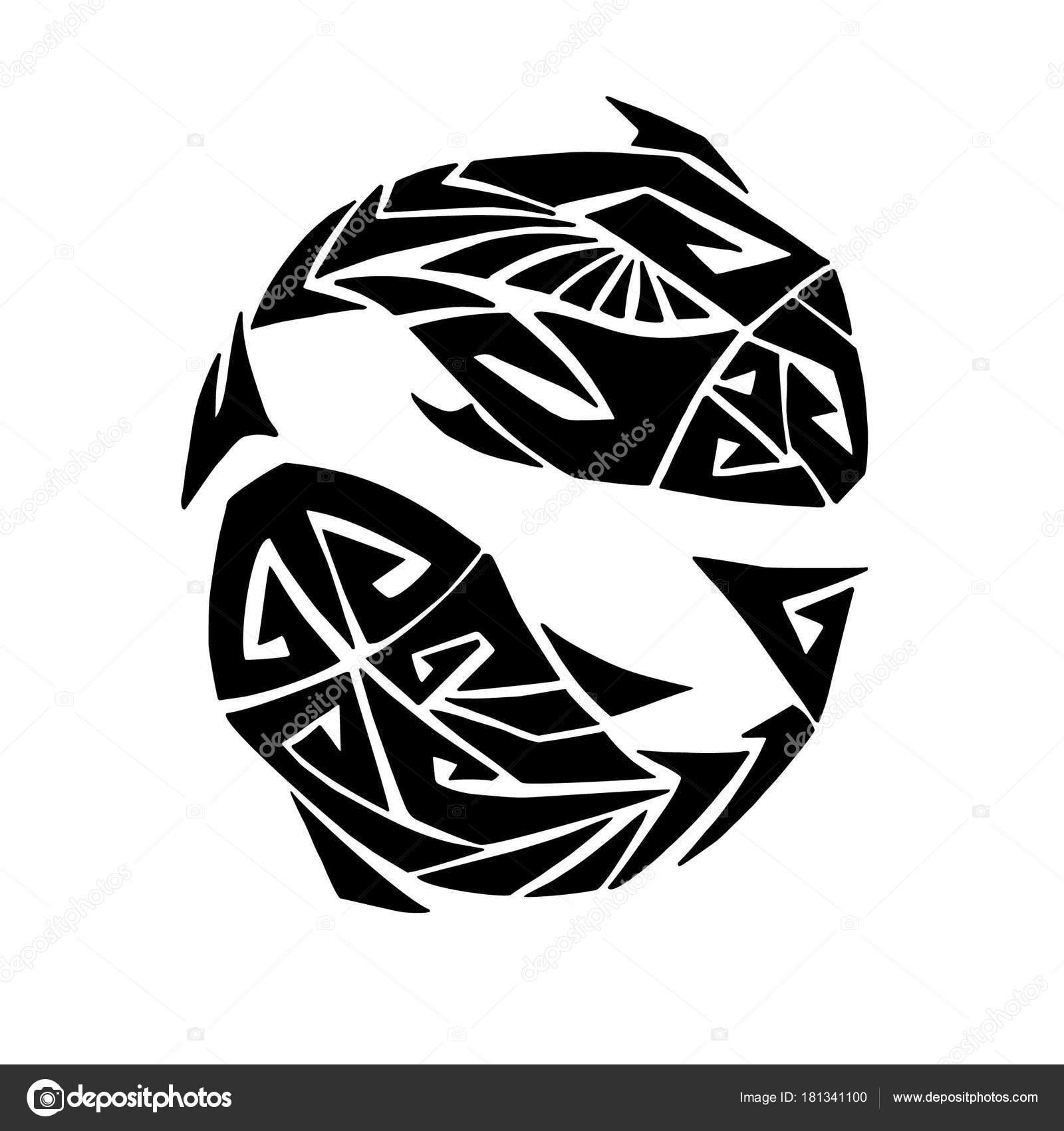 Stylizowane Znak Zodiaku Ryby Stylu Maori Tatuaż Ilustracji