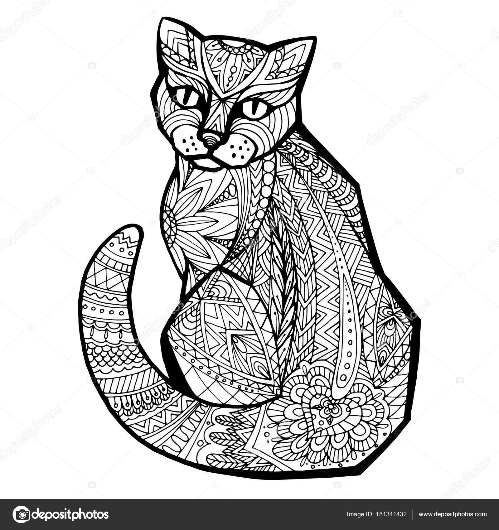 Elle çizilmiş Vektör Doodle Kedi Zentangle Tasarım Boyama Sayfası