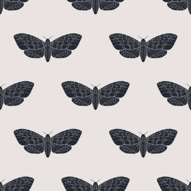 Hand drawn hawk moth vector seamless pattern