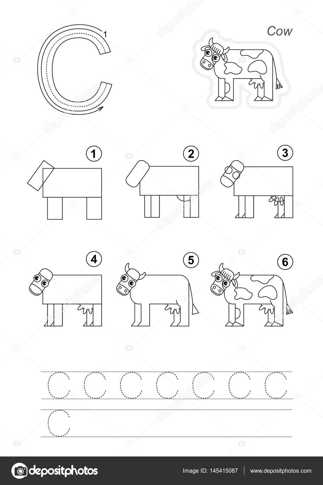 tutoriel de dessin de lettre — image vectorielle anna_mikhailova