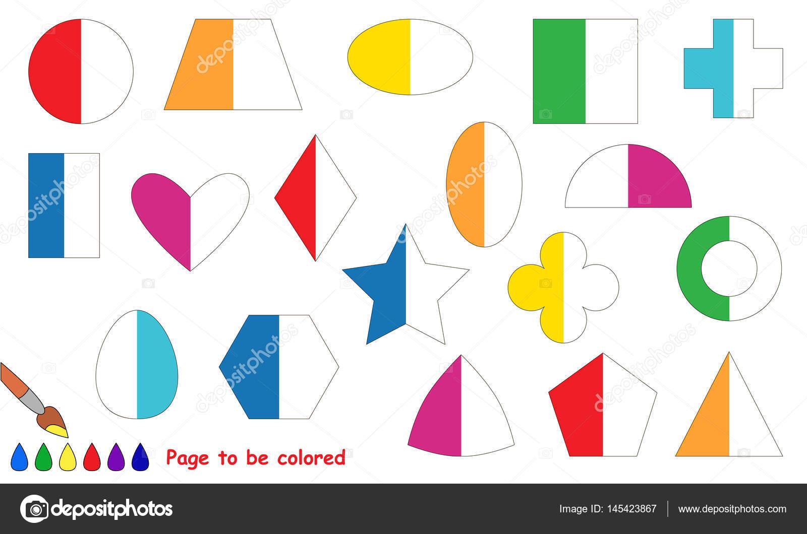 Juego de niños para colorear por ejemplo mitad — Vector de stock ...