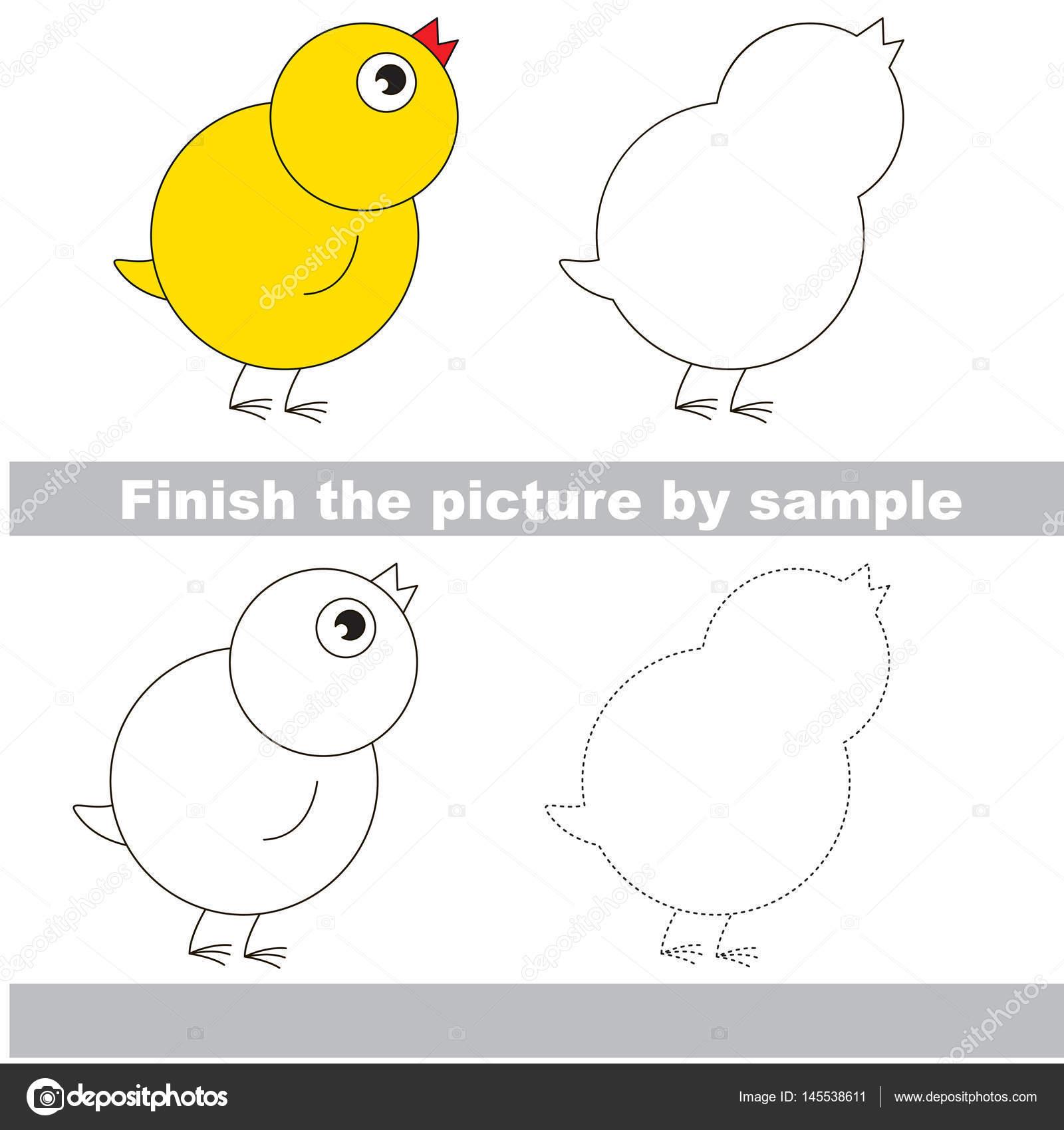 Arbeitsblatt zeichnen. Kleine gelbe Huhn — Stockvektor ...
