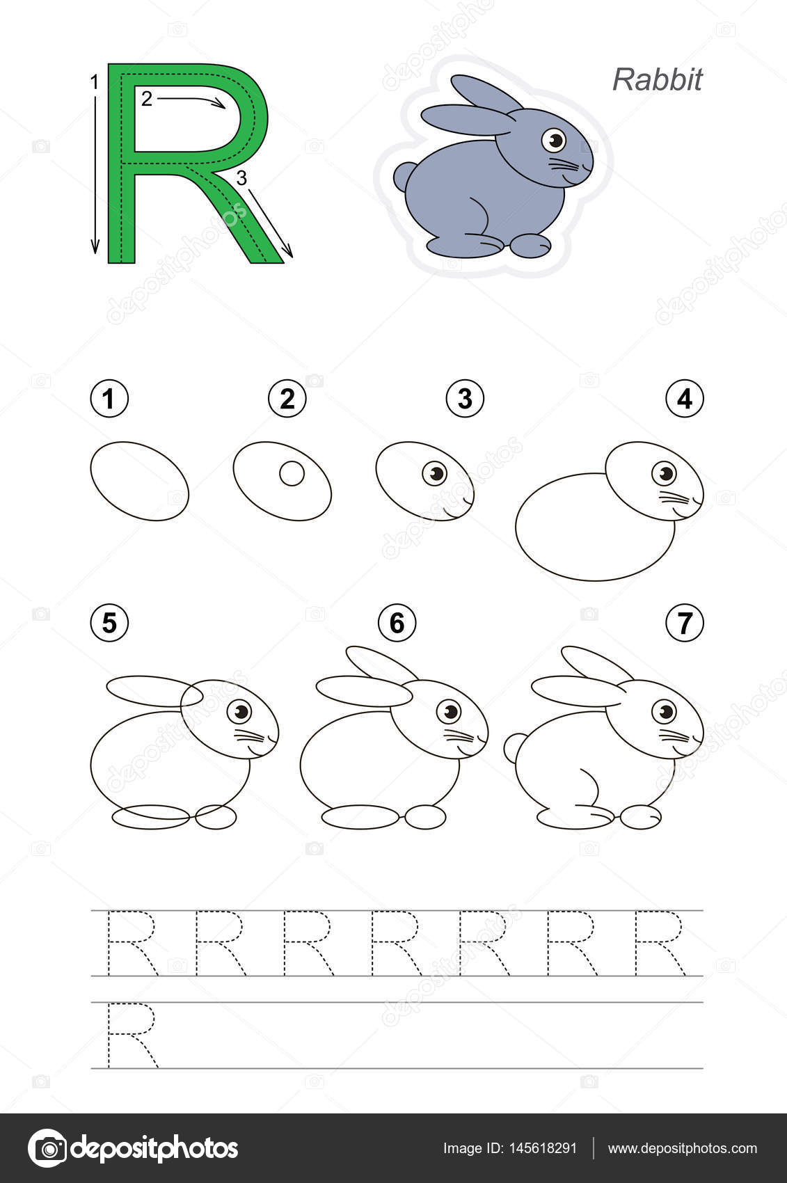 Drawing Tutorial For Letter Stock Vector C Anna Mikhailova 145618291
