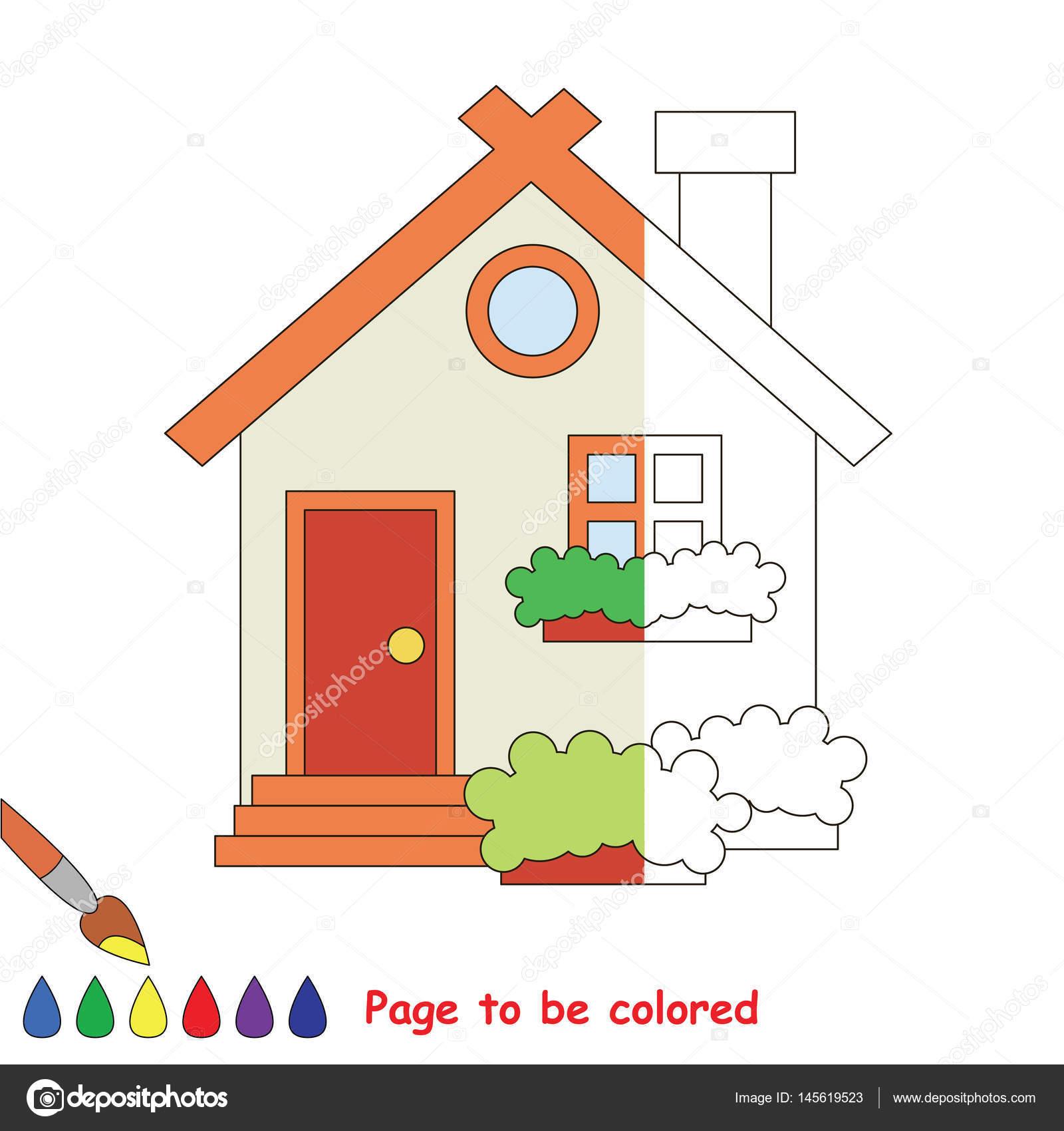 Dibujos Casas Faciles Por Dentro Pagina Para Colorear Vector De