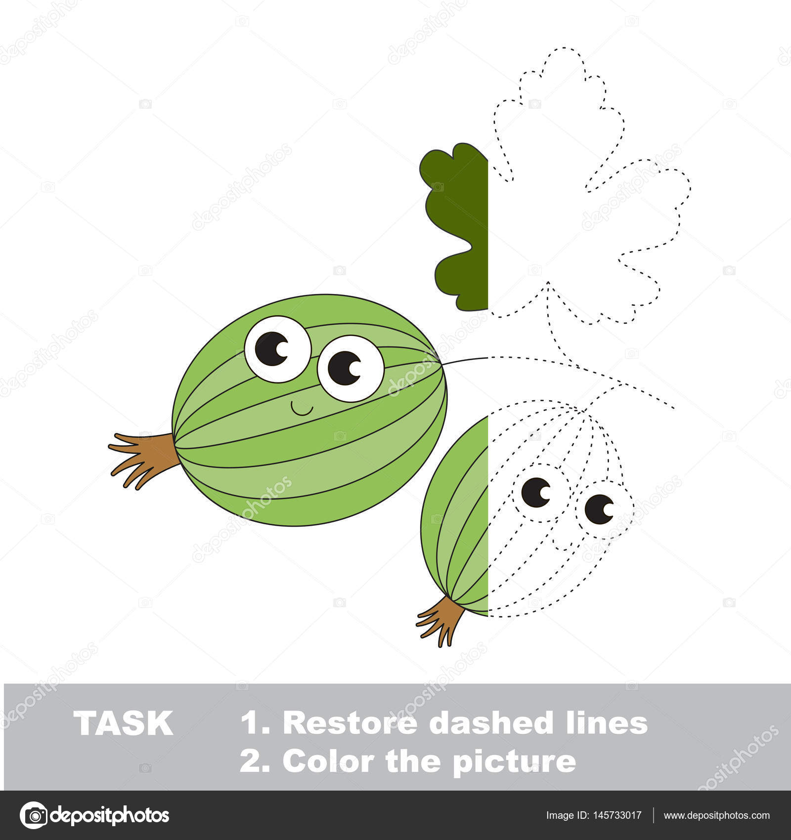 Gooseberry to be colored. Vector trace game. — Stock Vector ...