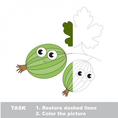 Gooseberry to be colored. Vector trace game.