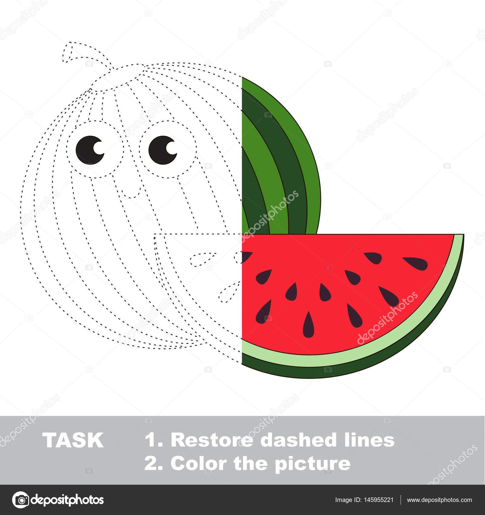 Anguria Da Colorare Vettore Gioco Di Traccia Vettoriali Stock