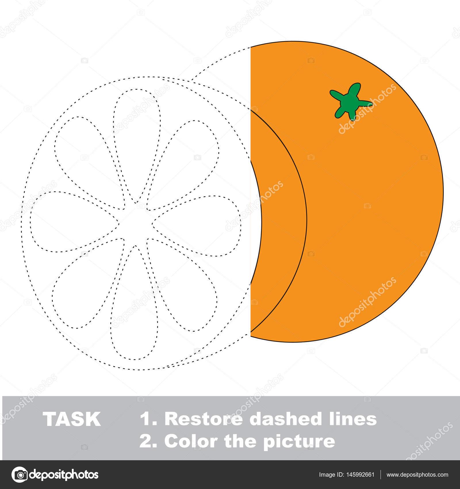 Frutas para colorear. Juego de rastreo Vector — Archivo Imágenes ...