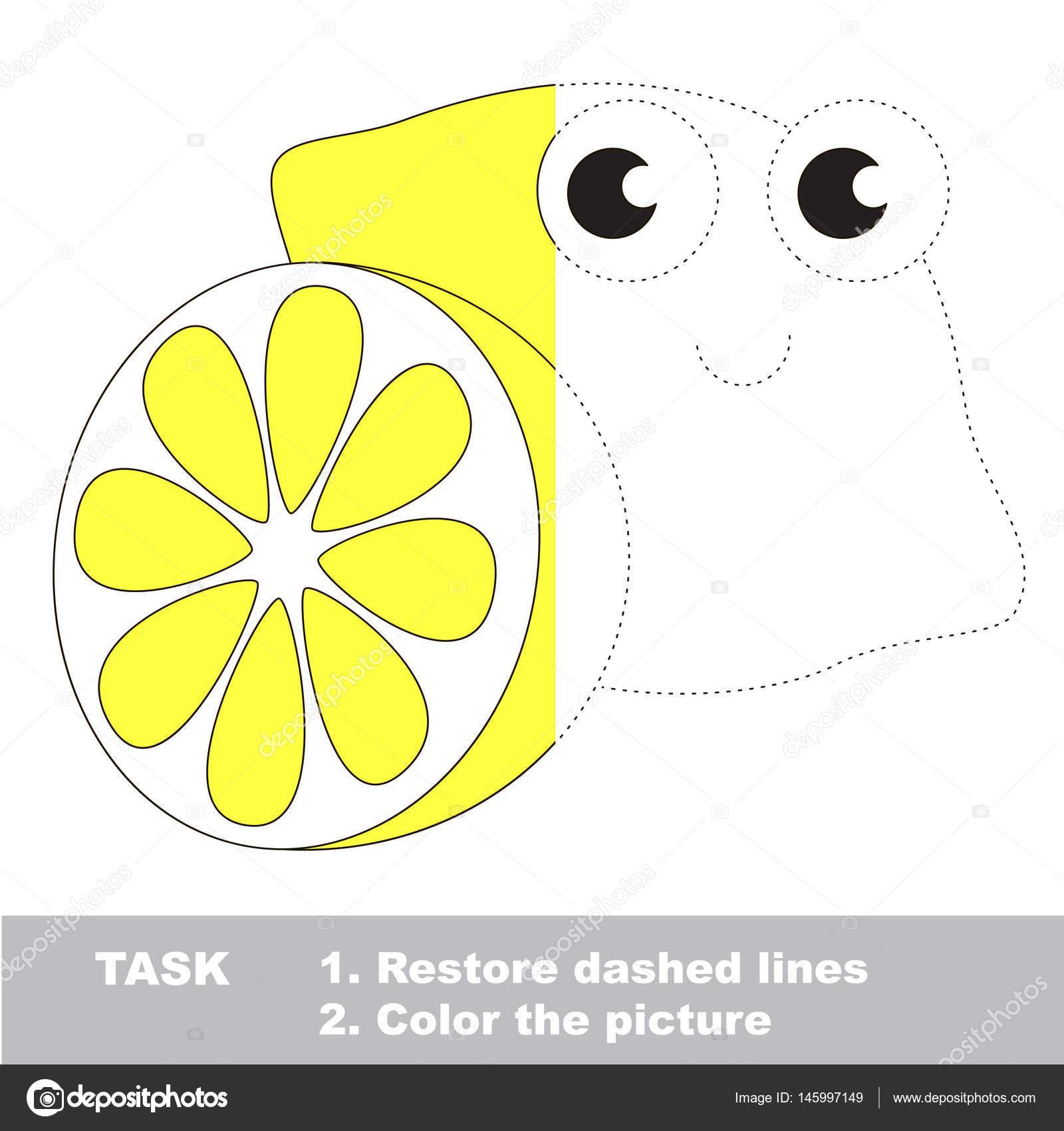 Limón Para Colorear Juego De Rastreo Vector Archivo Imágenes
