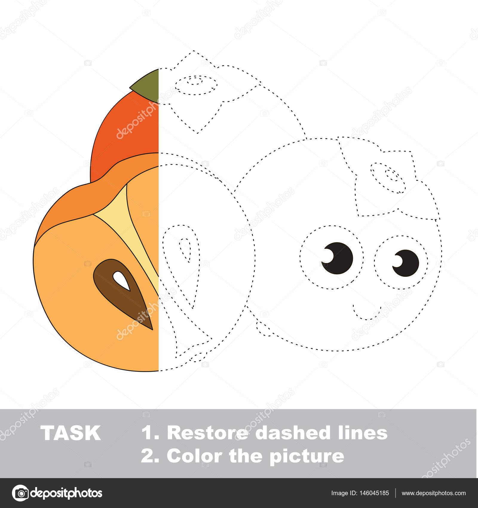 Coloriage Fruit Kaki.Sweet Kaki A Colorier Jeu De Traces Vecteur Image Vectorielle