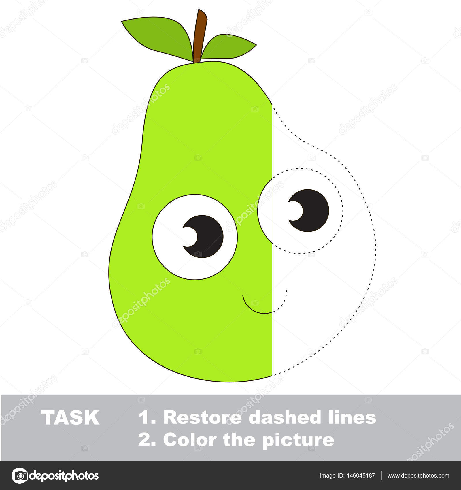 Tasty pear to be colored. Vector trace game. — Stock Vector ...