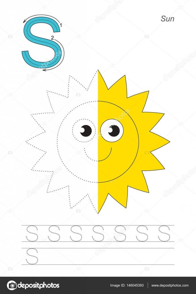 Die Hälfte verfolgen Spiel für Buchstaben S. Sonne — Stockvektor ...