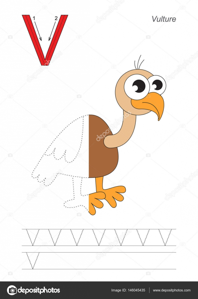 Learn Handwriting Half Trace Game Easy Educational Kid Tracing Worksheet For Letter V Vulture Vector By Annamikhailova: V Is For Vulture Worksheet At Alzheimers-prions.com