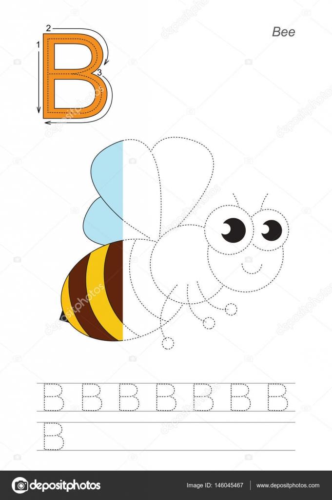 Halbe Spur Spiel für Buchstaben b Die Honigbiene — Stockvektor ...