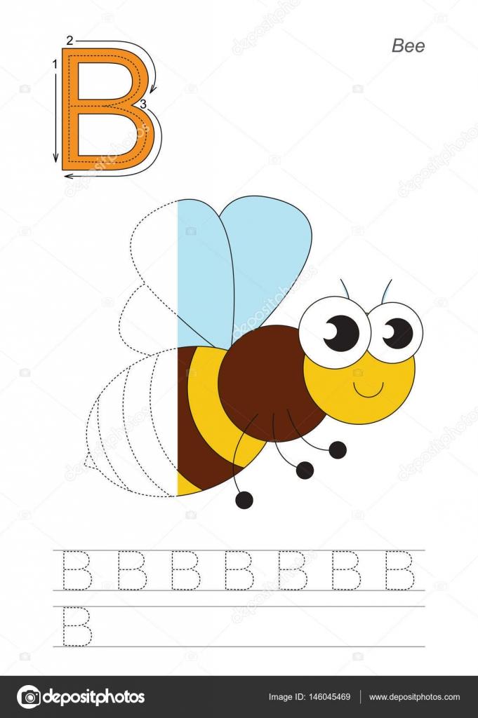 Seguimiento medio juego para la letra B. La abeja — Archivo Imágenes ...